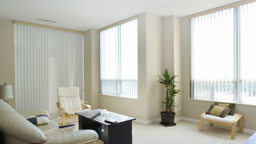 Vertical blinds versatile window covering solution the for Living room vertical blinds