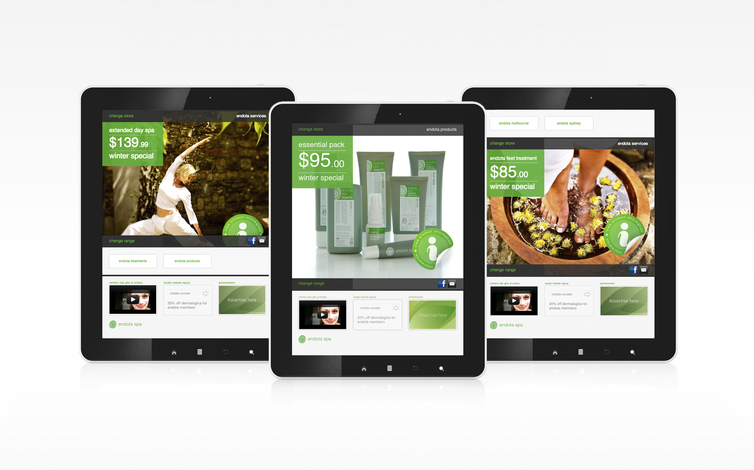 endota tablet display mock